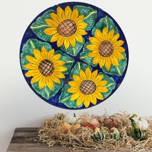 """Mexican Painted Sunflower DECOR 15"""" Round Platter"""